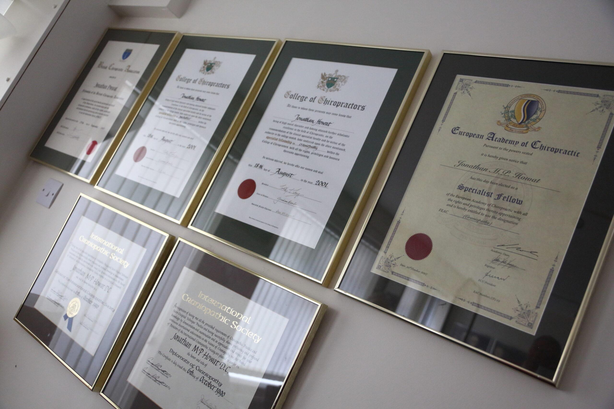 Cranio Fascial Dynamics certificates